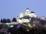 Gothic 15th Century Castle at Dusk, Trencin, Trencin Region, Slovakia Photographic Print by Richard Nebesky