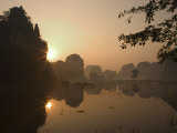 Sunrise, Limestone Mountain Scenery, Tam Coc, Ninh Binh, South of Hanoi, North Vietnam Stampa fotografica di Christian Kober