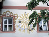 Detail of Traditional Sun Clock on the Exterior Wall of a Building, Salzburgland, Austria Photographic Print by Richard Nebesky