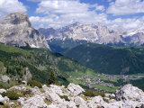 Valley East of Gardena Pass with Villages of Colfosco and Corvara, Dolomites, Alto Adige, Italy Photographic Print by Richard Nebesky