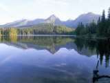 Strbske Pleso (Lake) and Peaks of Vysoke Tatry Mountains at Sunrise, Vysoke Tatry, Slovakia Photographic Print by Richard Nebesky