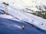 Skier on Slopes Above Village of Solden in Tirol Alps, Tirol, Austria Photographic Print by Richard Nebesky
