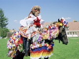 Young Woman Wearing Folk Dress on Horseback, Ride of the Kings Festival, Village of Vlcnov, Vlcnov Photographic Print by Richard Nebesky