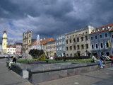 Buildings Around the Town Square, Namestie Snp Square, Banska Bystrica, Slovakia Photographic Print by Richard Nebesky