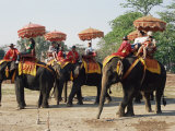 Tourists Riding Elephants in Traditional Royal Style, Ayuthaya, Thailand, Southeast Asia Photographic Print by Richard Nebesky