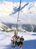 Skiers Riding Chairlift up to Slopes from Village of Solden, Tirol Alps, Tirol, Austria Photographic Print by Richard Nebesky