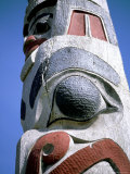Detail of Totem Pole, Queen Charlotte Islands, British Columbia (B.C.), Canada Photographic Print by Oliviero Olivieri
