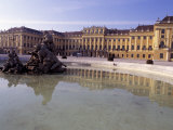 Exterior of the Schloss Schonbrunn, with Fountain and Pool in Front, Vienna Photographic Print by Richard Nebesky