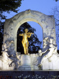 Statue of the Composer Johann Strauss on the Strauss Memorial at Twilight, Innere Stadt, Austria Photographic Print by Richard Nebesky