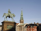 Nikolaj Church and Frederik VII Equestrian Statue, Copenhagen, Denmark, Scandinavia Photographic Print by Sergio Pitamitz