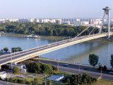 Snp Bridge Spans Danube River, Bratislava Photographic Print by Richard Nebesky