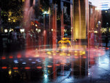 Illuminated Water Fountain, South Bank, Melbourne, Victoria, Australia Photographic Print by Richard Nebesky