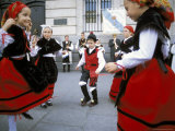 Spanish Children in National Dress Performing Outdoors at Plaza De La Puerto Del Sol, Madrid, Spain Photographic Print by Richard Nebesky