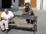 Man on Park Bench and Statue of Napoleon, Hlavne Square, Bratislava, Slovakia Photographic Print by Richard Nebesky