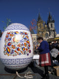 A Moravian Woman Decorating a Large Egg with Easter Designs on the Old Town Square, Prague Photographic Print by Richard Nebesky