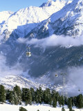 Gondolas Rising Above Village of Solden in Tirol Alps, Tirol, Austria Photographic Print by Richard Nebesky