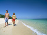 Couple Walking on Sandy Beach, Chapera Island (Contadora), Las Perlas Archipelago, Panama Photographic Print by Sergio Pitamitz