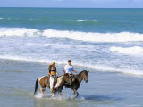 Couple Riding Horses on the Beach, Tibau Do Sul, Natal, Rio Grande Do Norte State, Brazil Photographic Print by Sergio Pitamitz