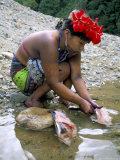 Embera Indian Cleaning Fish, Soberania Forest National Park, Panama, Central America Photographic Print by Sergio Pitamitz