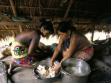 Embera Indian Cooking, Soberania Forest National Park, Panama, Central America Photographic Print by Sergio Pitamitz
