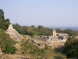 Temple of the Inscriptions and the Palace, Palenque, Chiapas Province, Mexico Photographic Print by Sergio Pitamitz