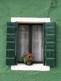 Flower Pot on Window Sill, Burano, Venice, Veneto, Italy Photographic Print by Sergio Pitamitz