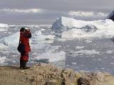 Chilean Ornithologist Rodrigo Tapia, Neko Harbor, Gerlache Strait, Antarctic Peninsula Photographic Print by Sergio Pitamitz