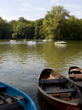 People Cruising in a Boat on the Kleinhesselohe Lake at the Englischer Garten, Bavaria, Germany Photographic Print by Yadid Levy