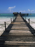 Bridge Leading to a Bar on the Water, Kiwengwa Beach, Zanzibar, Tanzania, East Africa, Africa Photographic Print by Yadid Levy