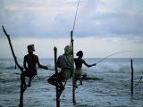 Stilt Fishermen Fishing from Their Poles Between Unawatuna and Weligama, Sri Lanka Photographic Print by Yadid Levy