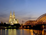 Cologne Cathedral and Hohenzollern Bridge at Night, Cologne, North Rhine Westphalia, Germany Photographic Print by Yadid Levy