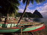 Fishing Boats at Soufriere Beach, with the Pitons in the Background, St. Lucia, West Indies Photographic Print by Yadid Levy