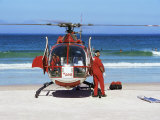 First Aid Medical Helicopter Lands on the Beach, South Africa, Africa Photographic Print by Yadid Levy