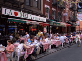 People Sitting at an Outdoor Restaurant, Little Italy, Manhattan, New York State Photographic Print by Yadid Levy