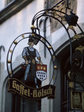 Decorated Sign of Locally Produced Beer Called Gaffel Kolsch in Old Town, North Rhine Westphalia Photographic Print by Yadid Levy