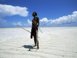 Fisherman on Beach, Zanzibar, Tanzania, East Africa, Africa Photographic Print by Yadid Levy