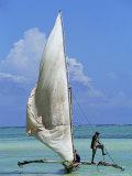 Sailing Boat, Kiwengwa Beach, Zanzibar, Tanzania, East Africa, Africa Photographic Print by Yadid Levy