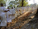 A Procession of Buddhist Nuns Make Their Way Through the Temples of Angkor, Cambodia, Indochina Photographic Print by Andrew Mcconnell