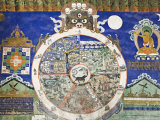Wheel of Life Wall Art, Tikse Gompa, Tikse, Ladakh, Indian Himalaya, India Fotografisk tryk af Jochen Schlenker