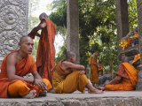 Buddhist Monks Relaxing Amongst the Temples of Angkor, Cambodia, Indochina, Southeast Asia Photographic Print by Andrew Mcconnell