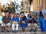 Elderly Men, Ile Rousse, Corsica, France Photographic Print by Yadid Levy