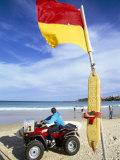 Swimming Flag and Patrolling Lifeguard at Bondi Beach, Sydney, New South Wales, Australia Reprodukcja zdjęcia autor Robert Francis
