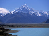 Looking North Along Lake Pukaki Towards Mt. Cook in the Southern Alps of Canterbury, New Zealand Photographic Print by Robert Francis