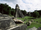 Temple of the Great Jaguar in the Grand Plaza, Mayan Ruins, Tikal, Peten Photographic Print by Robert Francis