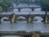 Charles Bridge on the Vltava River, Prague, Czech Republic Photographic Print by Kim Hart