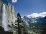 Upper Yosemite Falls Cascades Down the Sheer Granite Walls of Yosemite Valley Photographic Print by Robert Francis