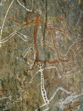 Painting of Dancing Figures at Nourlangie Rock, Australia Photographic Print by Robert Francis