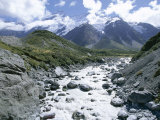 The Hooker River Flowing from the Hooker Glacier, Mount Cook National Park, Canterbury Photographic Print by Robert Francis
