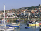 Boats in Harbour and Seafront, Scarborough, Yorkshire, England, United Kingdom Photographic Print by Robert Francis