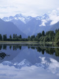 Mountains of the Southern Alps Reflected in Lake Matheson, Canterbury, South Island, New Zealand Photographic Print by Robert Francis